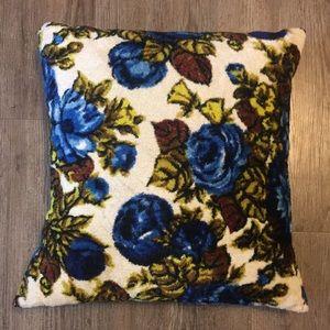 VTG 60s Blue Green Floral Velvet Throw Pillow
